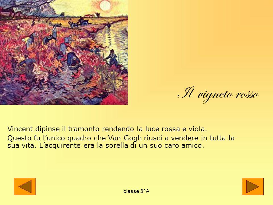 Il vigneto rosso Vincent dipinse il tramonto rendendo la luce rossa e viola.