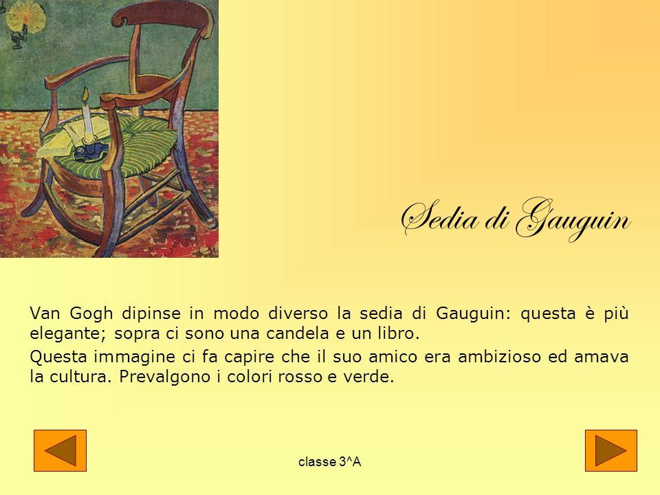 Sedia di Gauguin Van Gogh dipinse in modo diverso la sedia di Gauguin: questa è più elegante; sopra ci sono una candela e un libro.