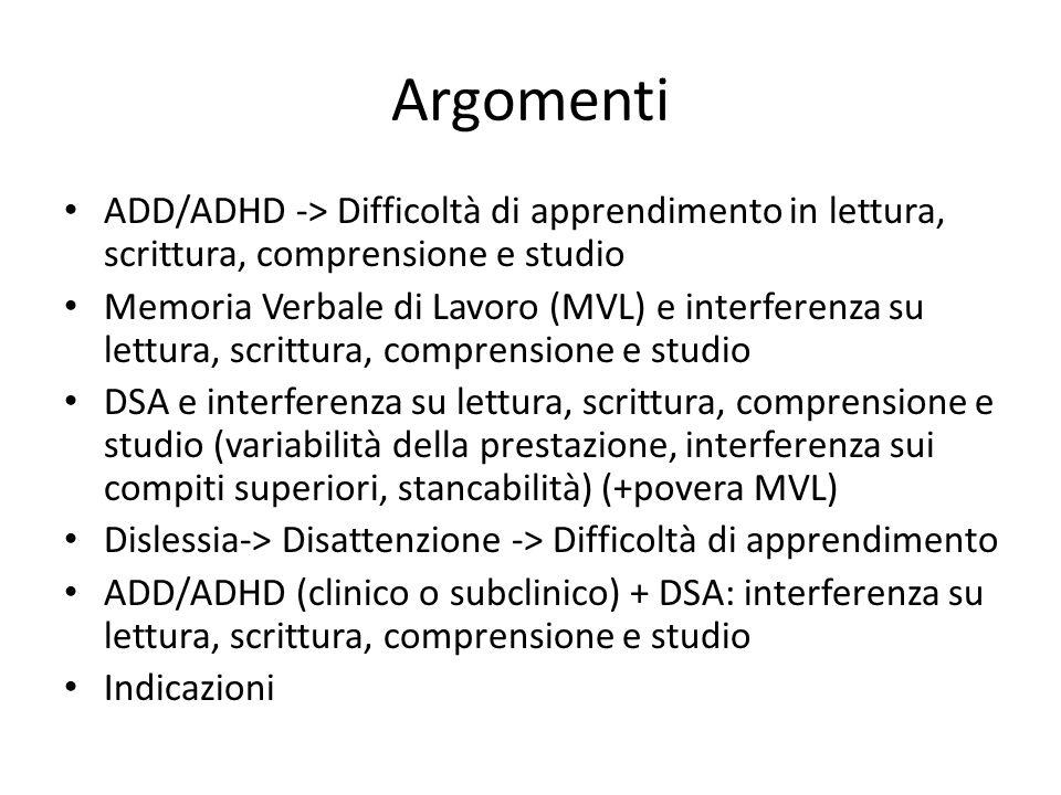 Argomenti ADD/ADHD -> Difficoltà di apprendimento in lettura, scrittura, comprensione e studio.
