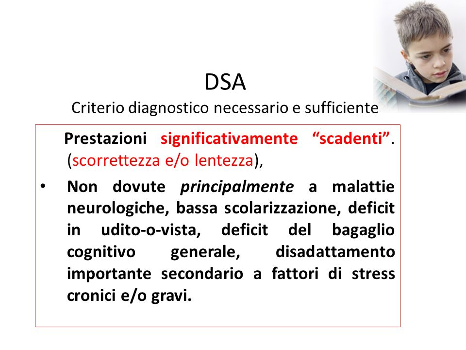 DSA Criterio diagnostico necessario e sufficiente
