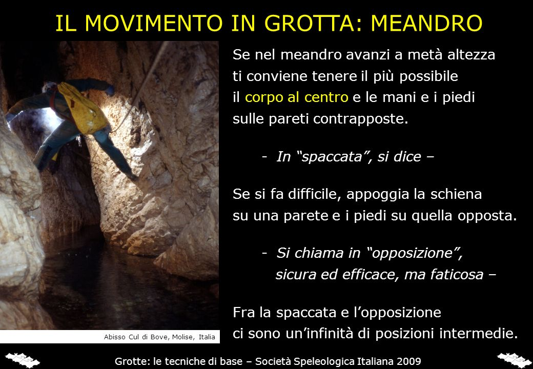 IL MOVIMENTO IN GROTTA: MEANDRO