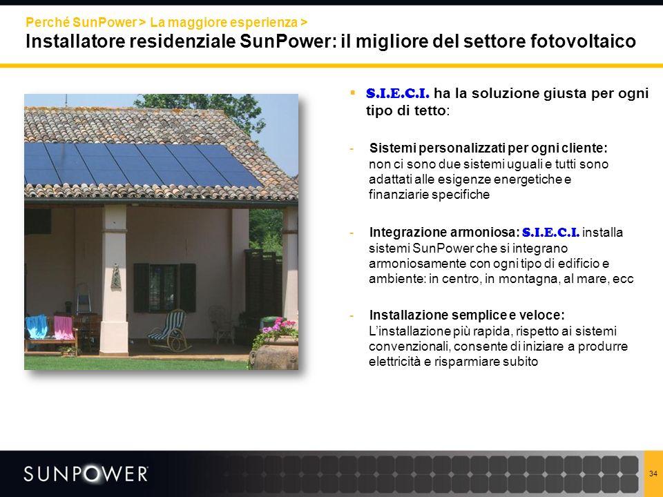Perché SunPower > La maggiore esperienza >
