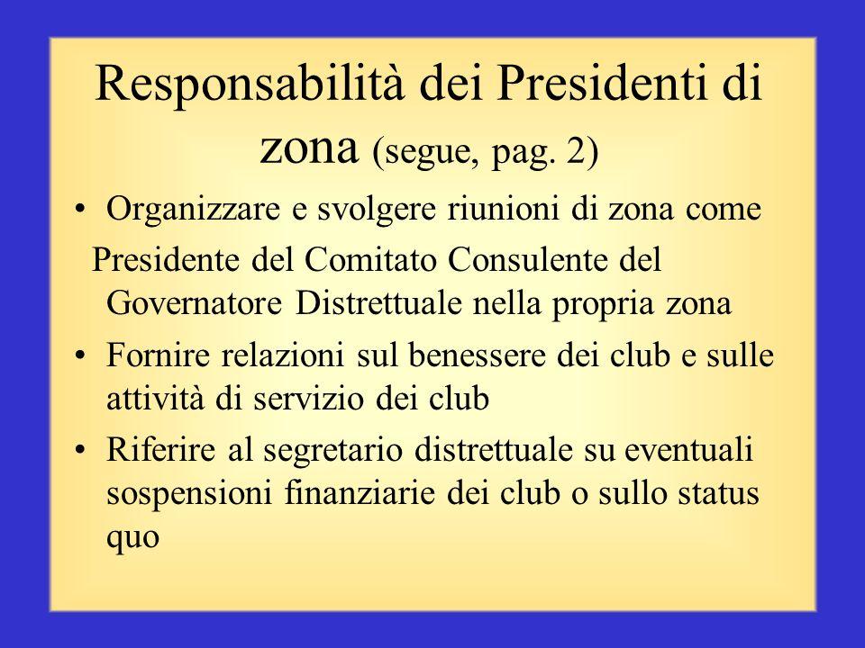 Responsabilità dei Presidenti di zona (segue, pag. 2)