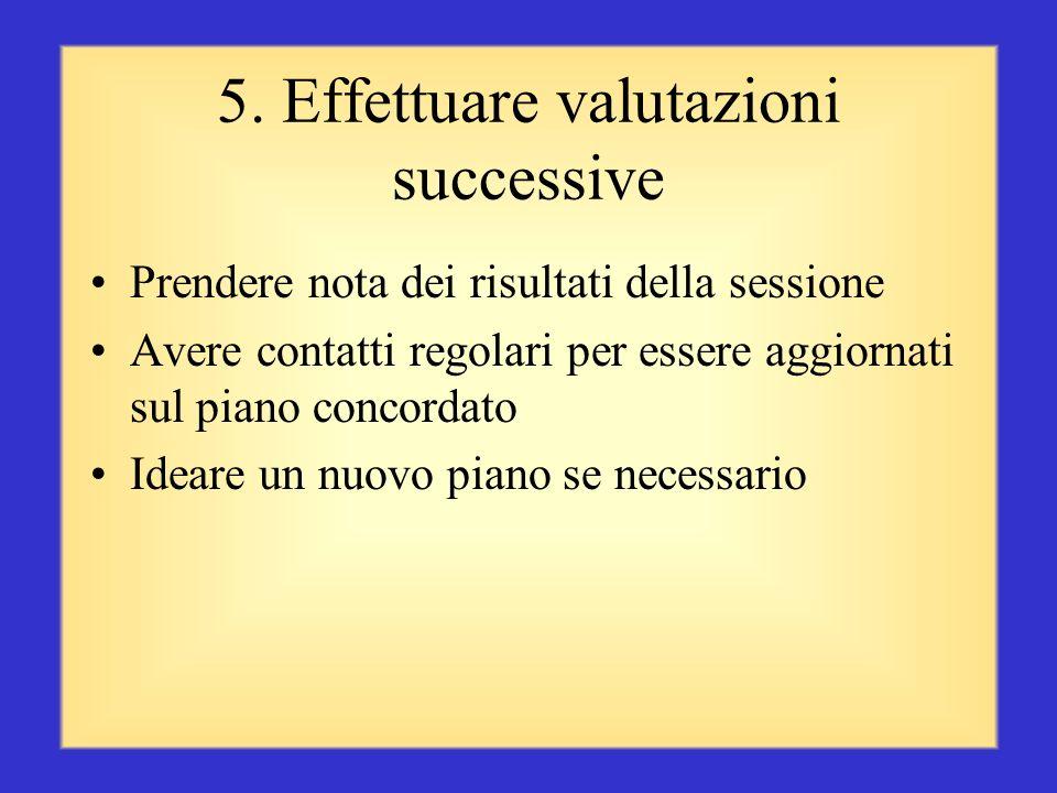 5. Effettuare valutazioni successive