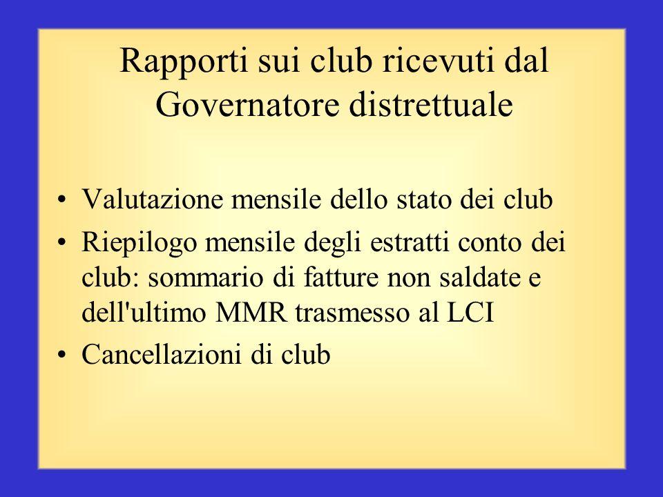 Rapporti sui club ricevuti dal Governatore distrettuale