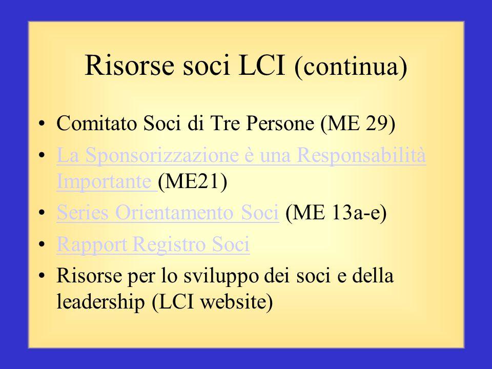 Risorse soci LCI (continua)