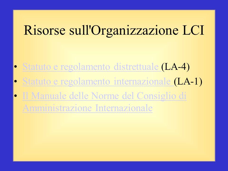 Risorse sull Organizzazione LCI
