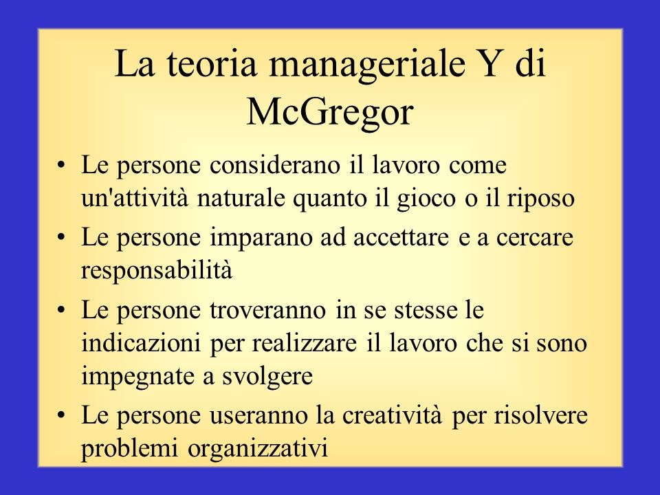 La teoria manageriale Y di McGregor