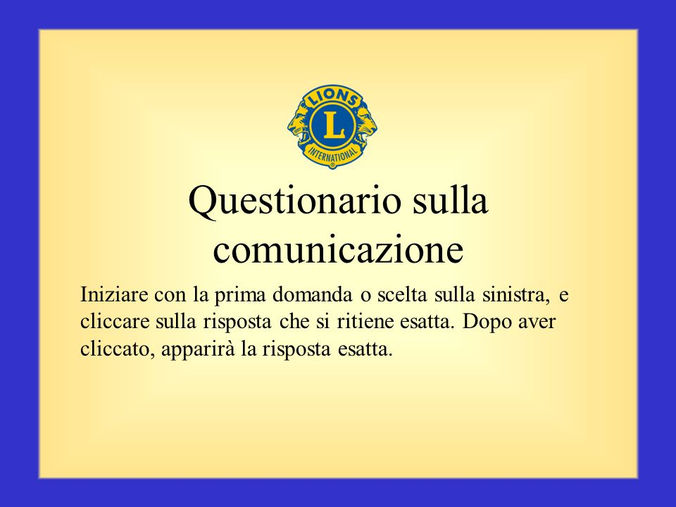 Questionario sulla comunicazione