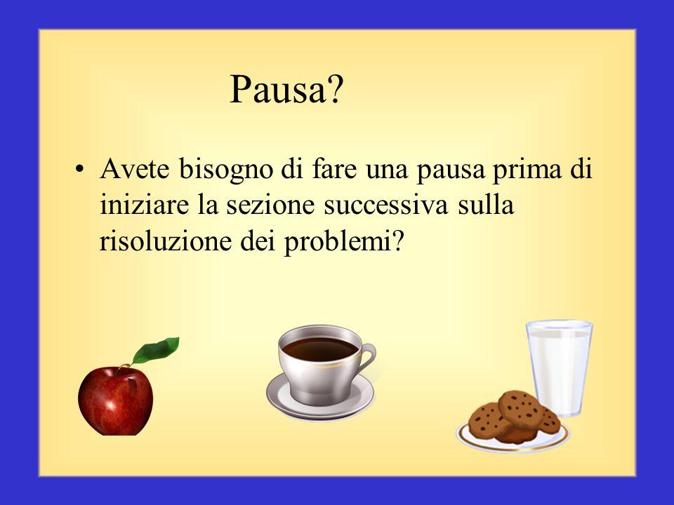 Pausa Avete bisogno di fare una pausa prima di iniziare la sezione successiva sulla risoluzione dei problemi