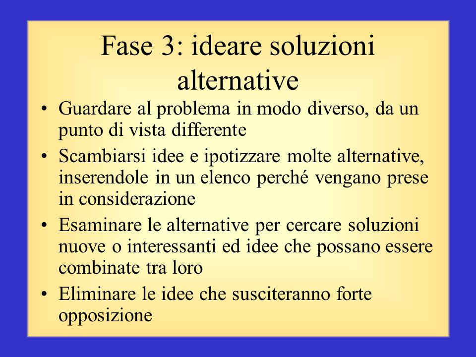 Fase 3: ideare soluzioni alternative