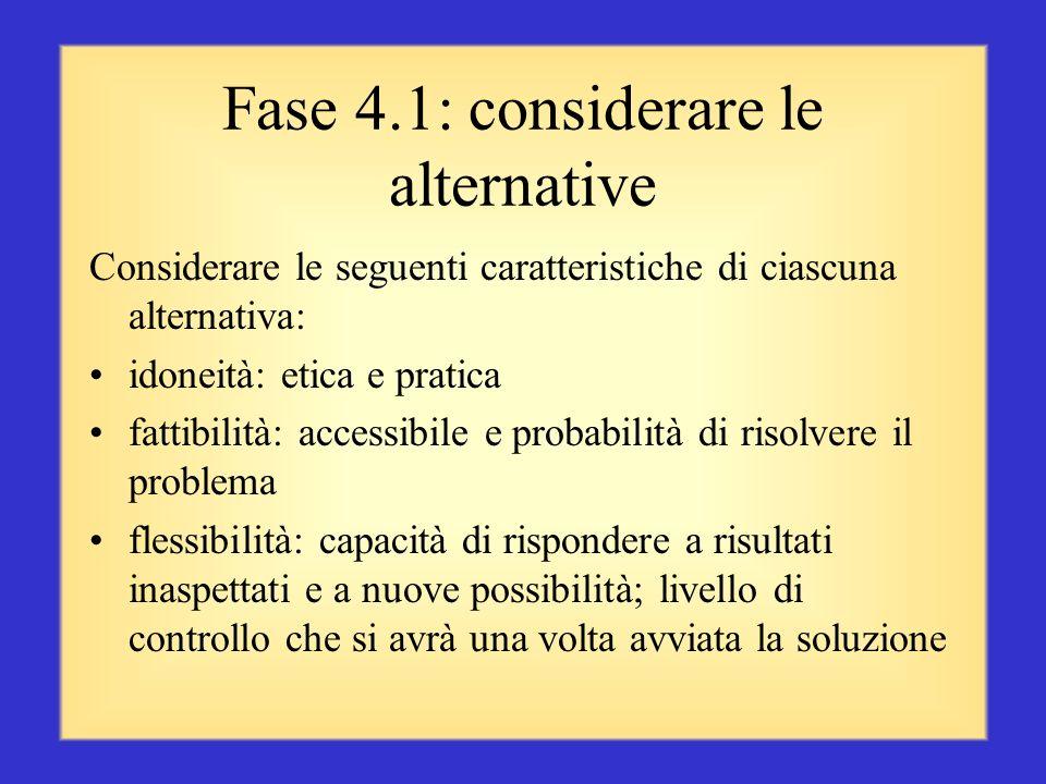 Fase 4.1: considerare le alternative