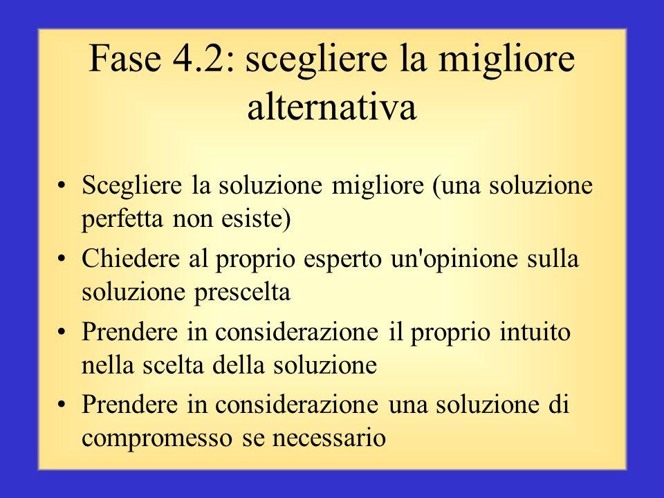 Fase 4.2: scegliere la migliore alternativa