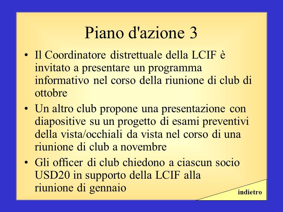 Piano d azione 3 Il Coordinatore distrettuale della LCIF è invitato a presentare un programma informativo nel corso della riunione di club di ottobre.