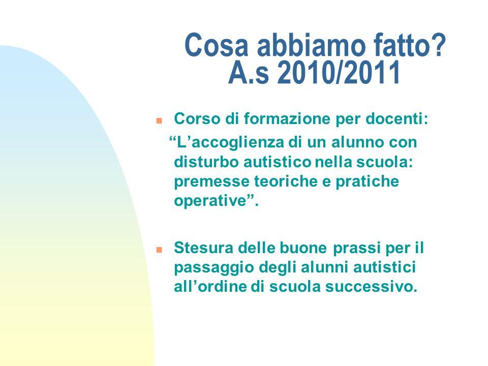 Cosa abbiamo fatto A.s 2010/2011 Corso di formazione per docenti: