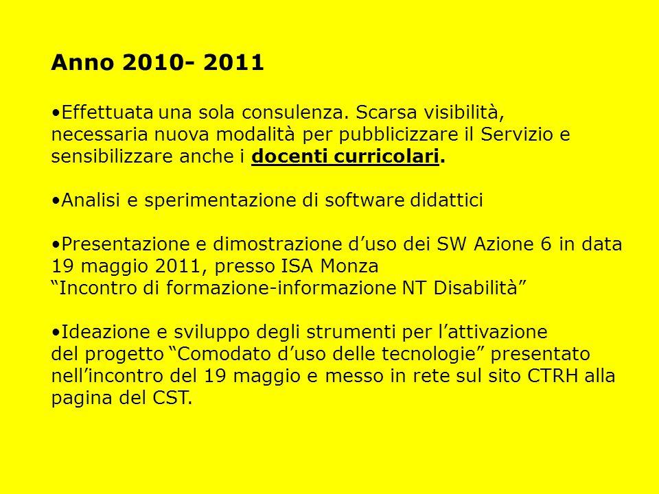 Anno 2010- 2011 Effettuata una sola consulenza. Scarsa visibilità,
