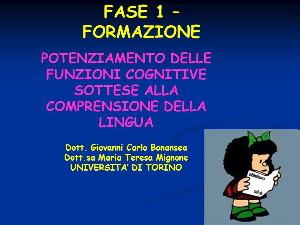 FASE 1 – FORMAZIONE POTENZIAMENTO DELLE FUNZIONI COGNITIVE