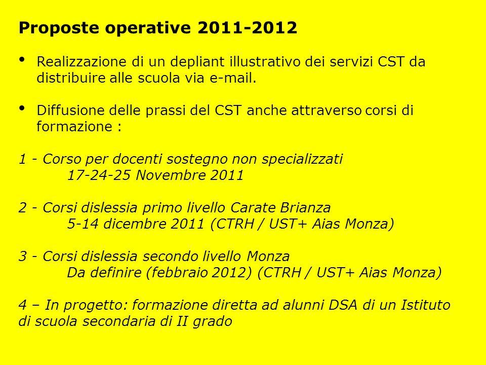 Proposte operative 2011-2012 Realizzazione di un depliant illustrativo dei servizi CST da distribuire alle scuola via e-mail.