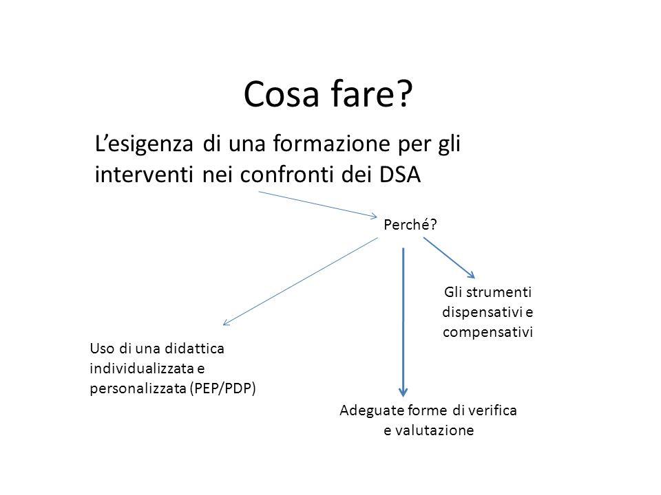 Cosa fare L'esigenza di una formazione per gli interventi nei confronti dei DSA. Perché Gli strumenti dispensativi e compensativi.