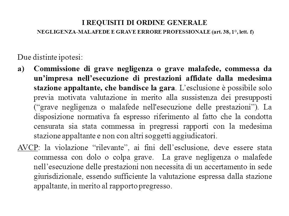 I REQUISITI DI ORDINE GENERALE NEGLIGENZA-MALAFEDE E GRAVE ERRORE PROFESSIONALE (art. 38, 1°, lett. f)