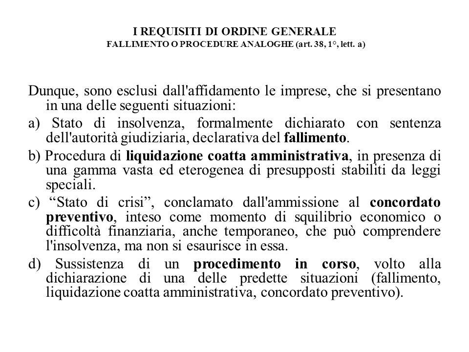 I REQUISITI DI ORDINE GENERALE FALLIMENTO O PROCEDURE ANALOGHE (art