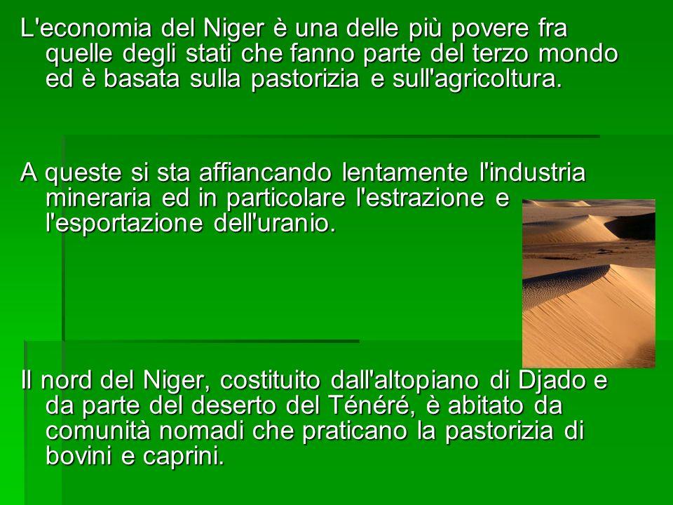 L economia del Niger è una delle più povere fra quelle degli stati che fanno parte del terzo mondo ed è basata sulla pastorizia e sull agricoltura.