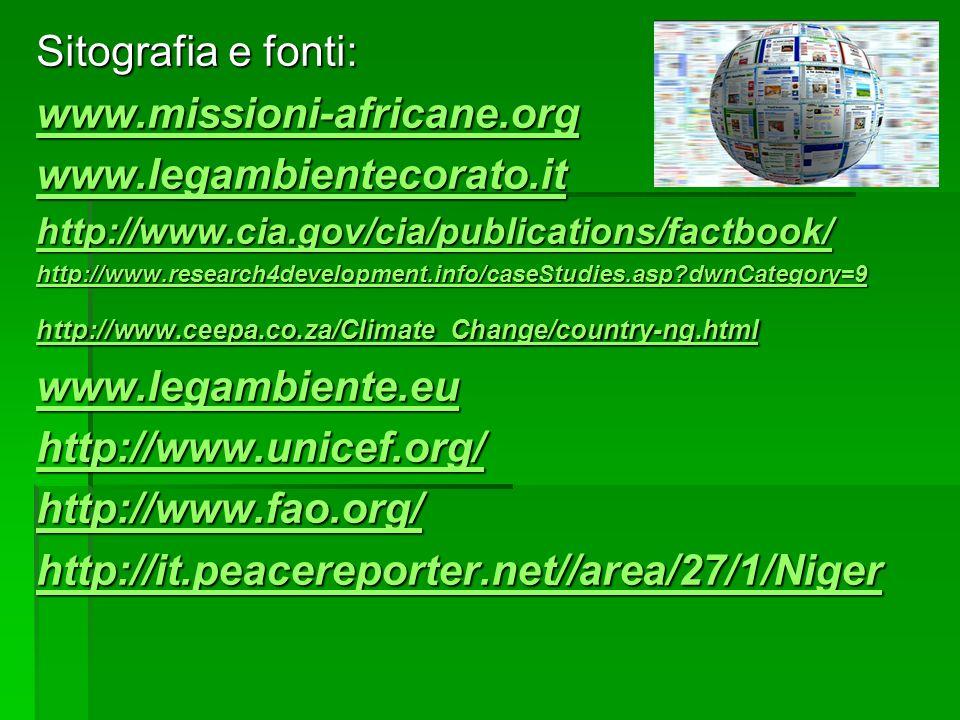 Sitografia e fonti: www.missioni-africane.org www.legambientecorato.it