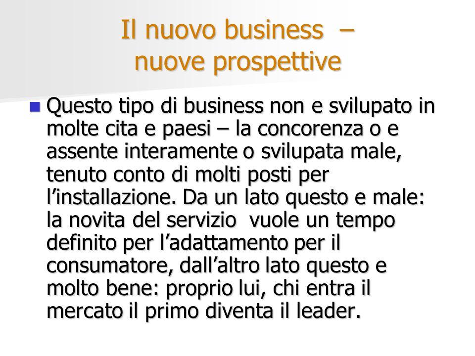 Il nuovo business – nuove prospettive