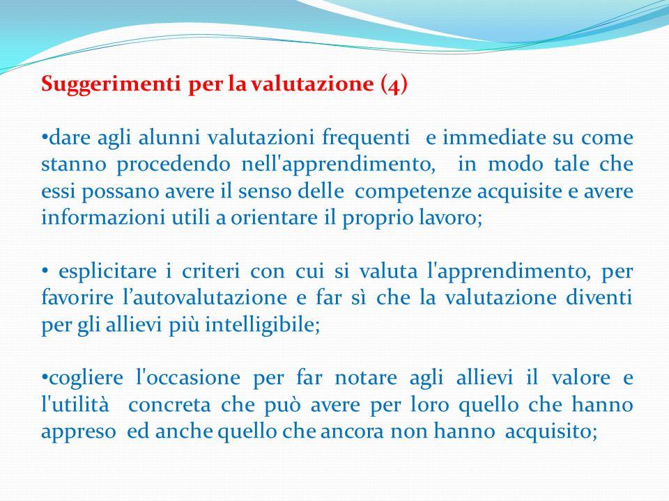 Suggerimenti per la valutazione (4)