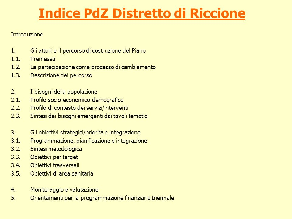 Indice PdZ Distretto di Riccione
