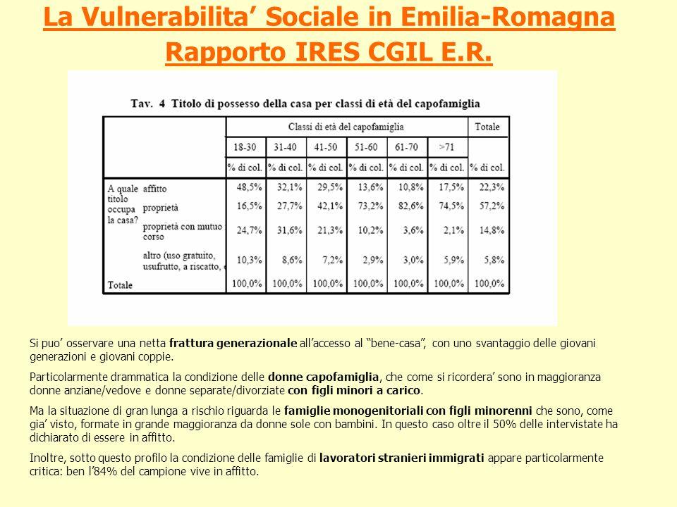 La Vulnerabilita' Sociale in Emilia-Romagna Rapporto IRES CGIL E.R.