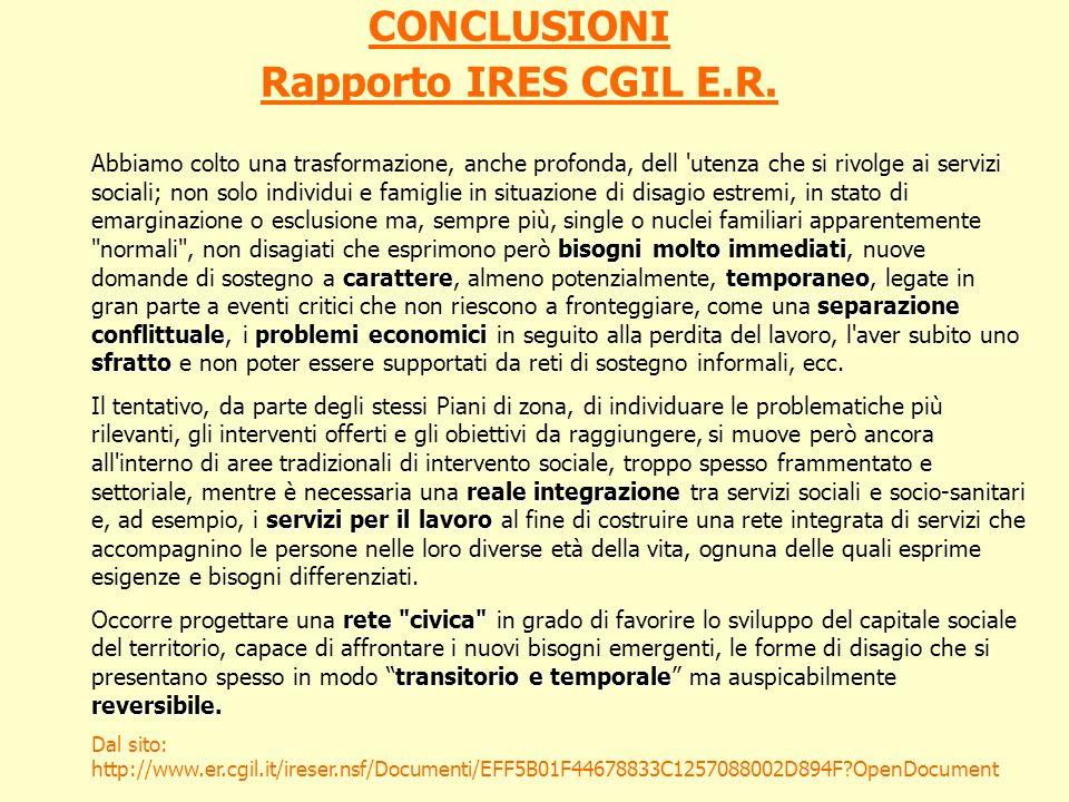 CONCLUSIONI Rapporto IRES CGIL E.R.