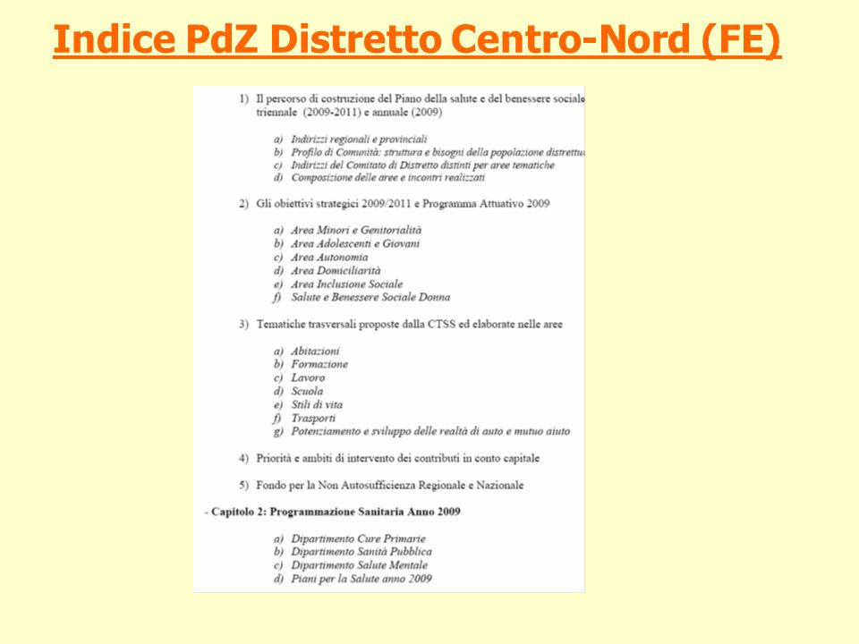 Indice PdZ Distretto Centro-Nord (FE)