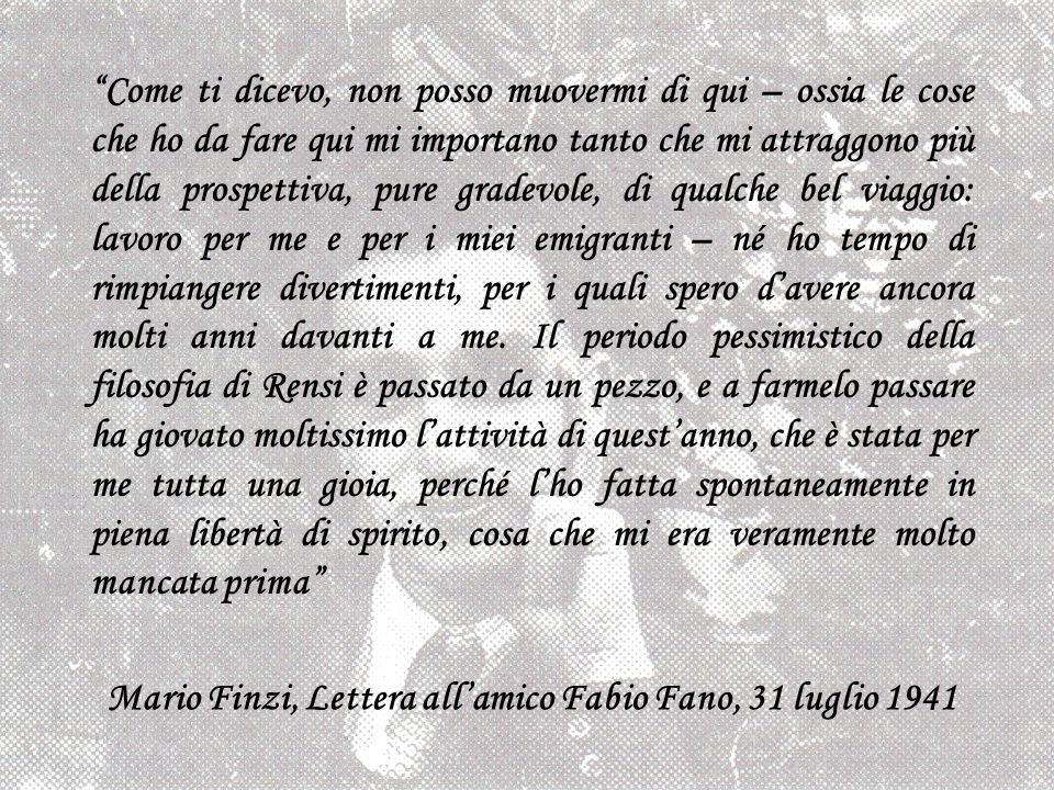 Mario Finzi, Lettera all'amico Fabio Fano, 31 luglio 1941