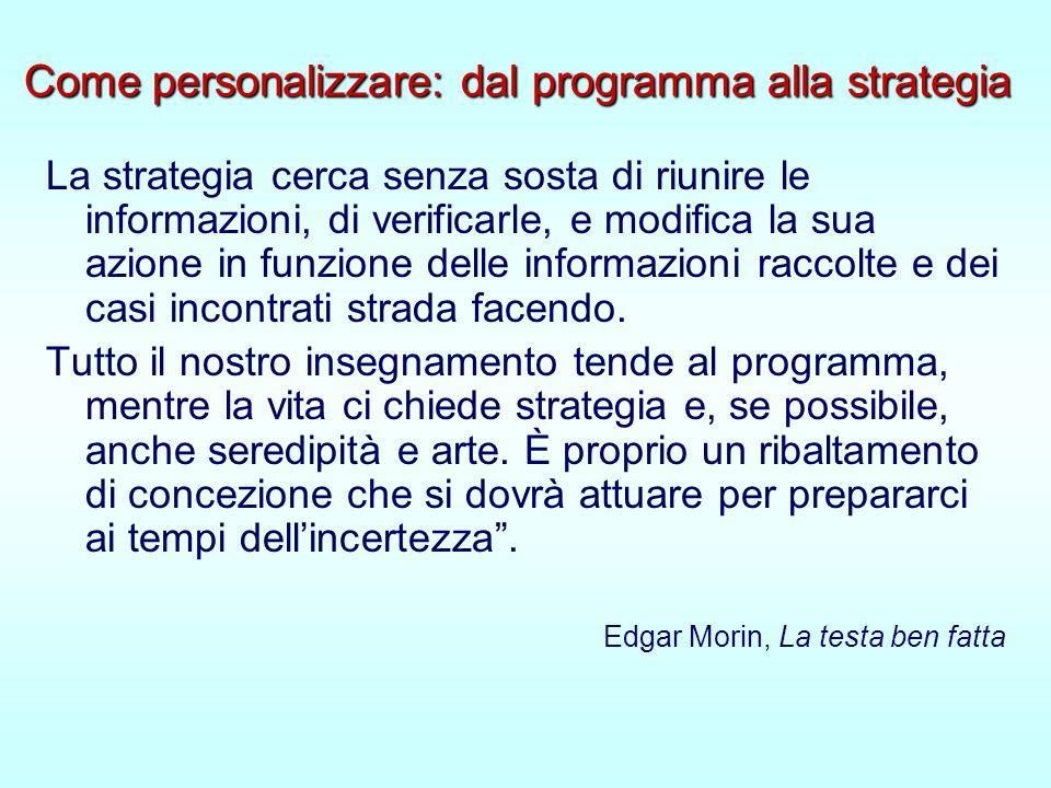 Come personalizzare: dal programma alla strategia