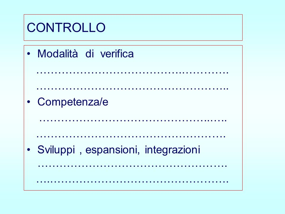 CONTROLLO Modalità di verifica ………………………………….…………. ……………………………………………..