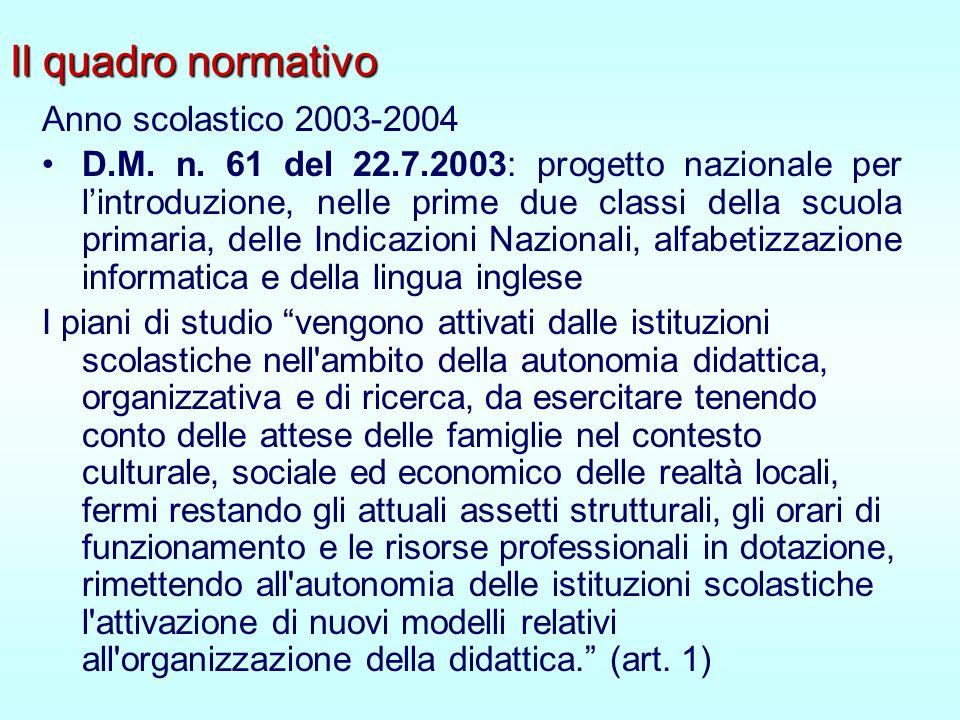 Il quadro normativo Anno scolastico 2003-2004