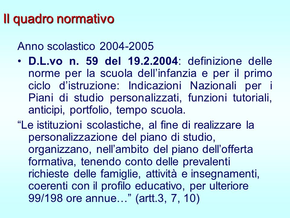 Il quadro normativo Anno scolastico 2004-2005