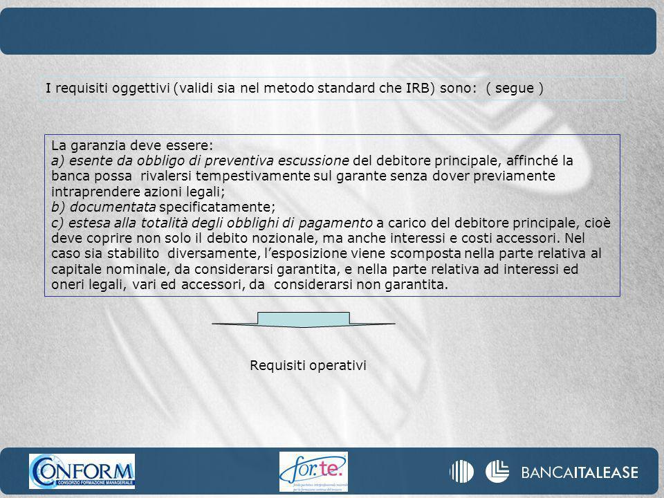 I requisiti oggettivi (validi sia nel metodo standard che IRB) sono: ( segue )