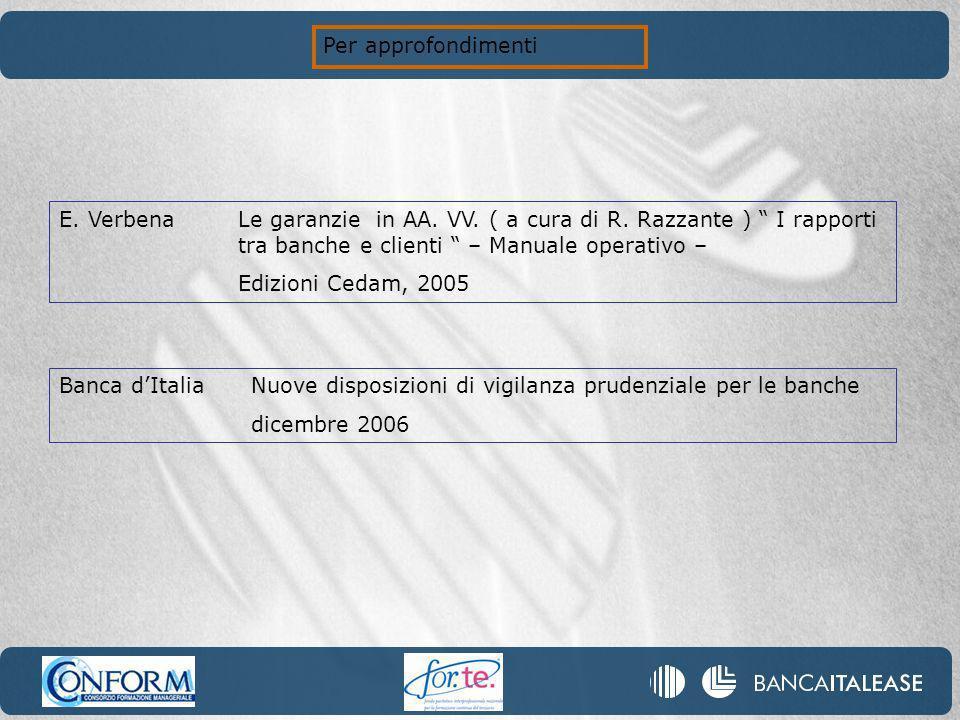 Per approfondimenti E. Verbena Le garanzie in AA. VV. ( a cura di R. Razzante ) I rapporti tra banche e clienti – Manuale operativo –