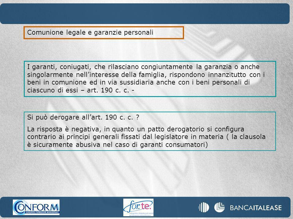 Comunione legale e garanzie personali