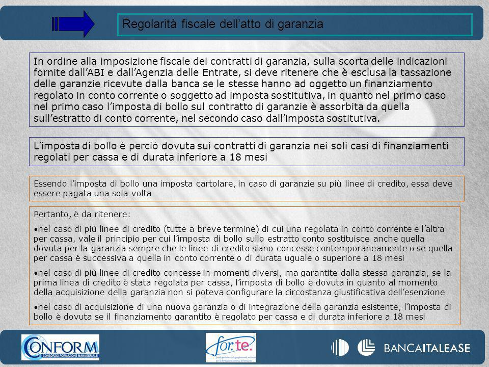 Regolarità fiscale dell'atto di garanzia