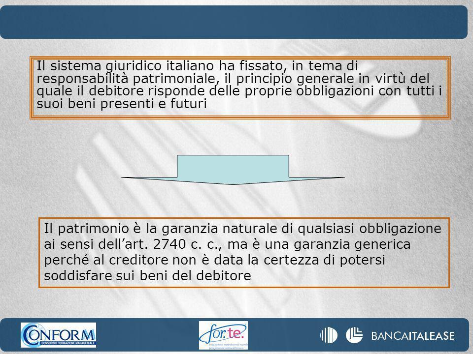 Il sistema giuridico italiano ha fissato, in tema di responsabilità patrimoniale, il principio generale in virtù del quale il debitore risponde delle proprie obbligazioni con tutti i suoi beni presenti e futuri