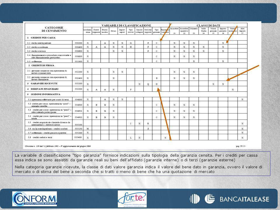 La variabile di classificazione tipo garanzia fornisce indicazioni sulla tipologia della garanzia censita. Per i crediti per cassa essa indica se sono assistiti da garanzie reali su beni dell'affidato (garanzie interne) o di terzi (garanzie esterne)