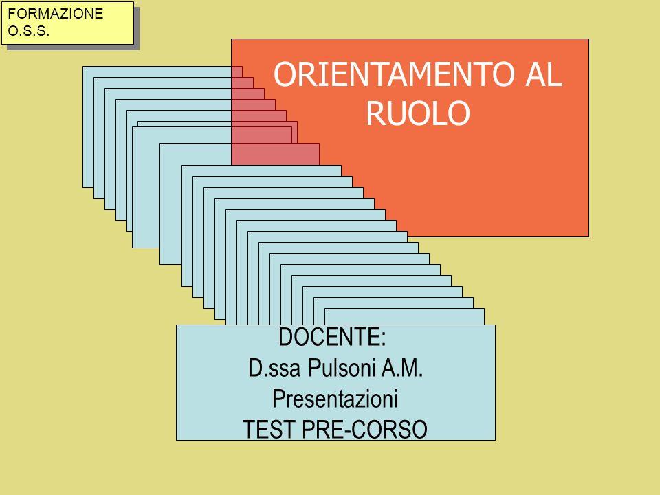ORIENTAMENTO AL RUOLO DOCENTE: D.ssa Pulsoni A.M. Presentazioni