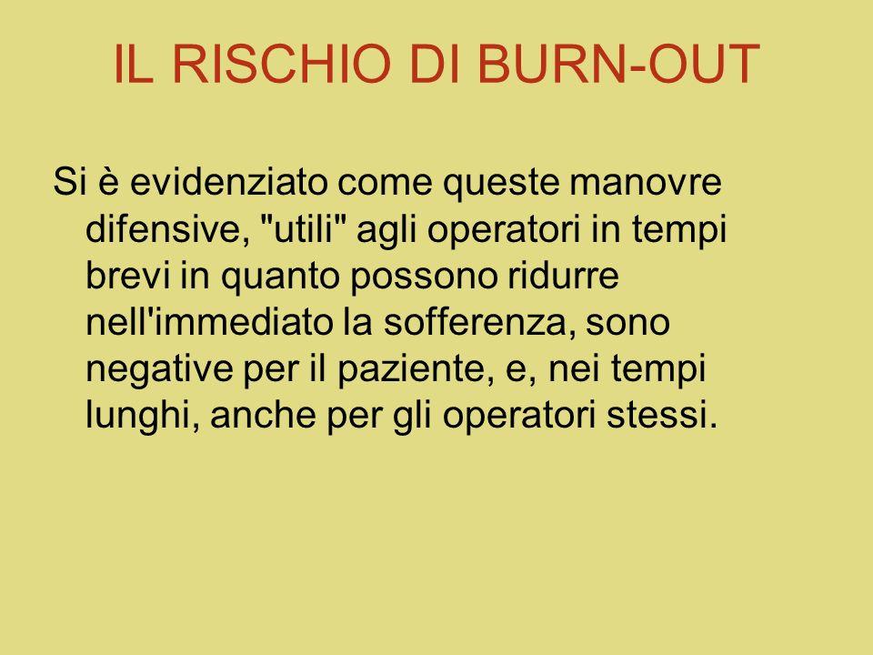IL RISCHIO DI BURN-OUT