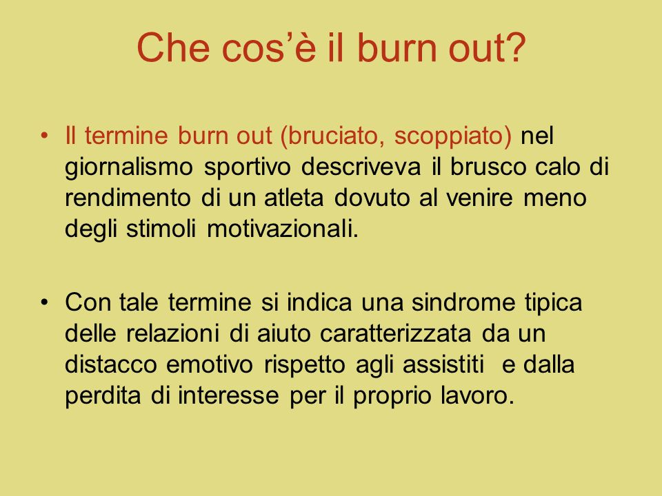 Che cos'è il burn out