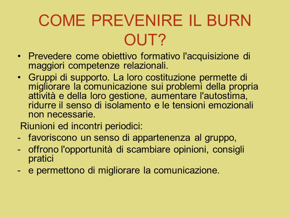 COME PREVENIRE IL BURN OUT