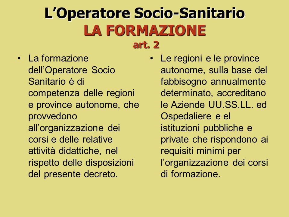L'Operatore Socio-Sanitario LA FORMAZIONE art. 2