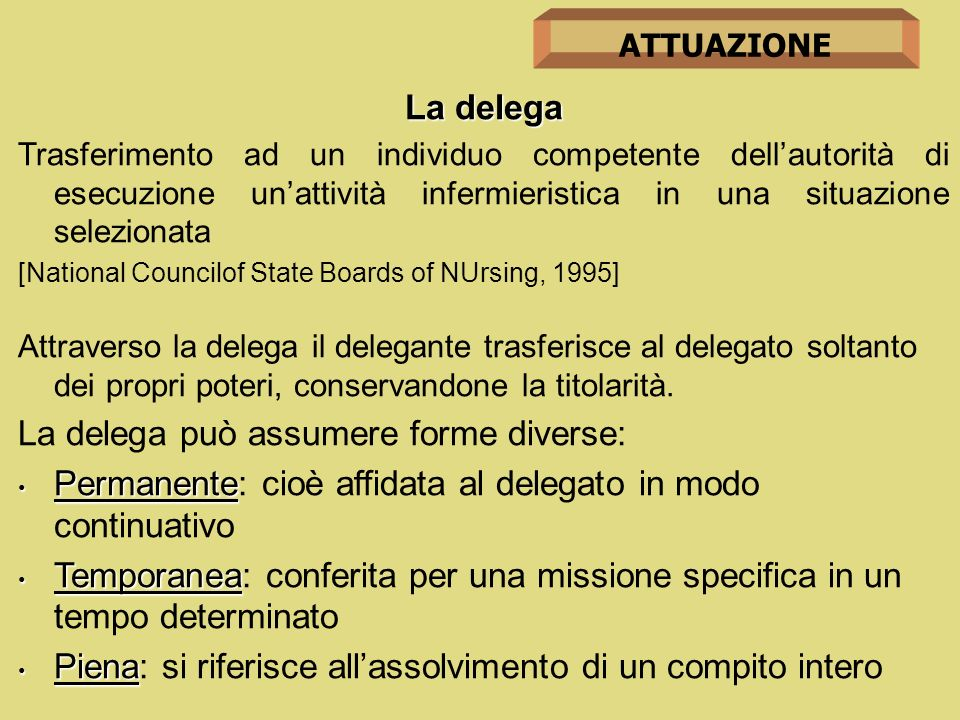 La delega può assumere forme diverse: